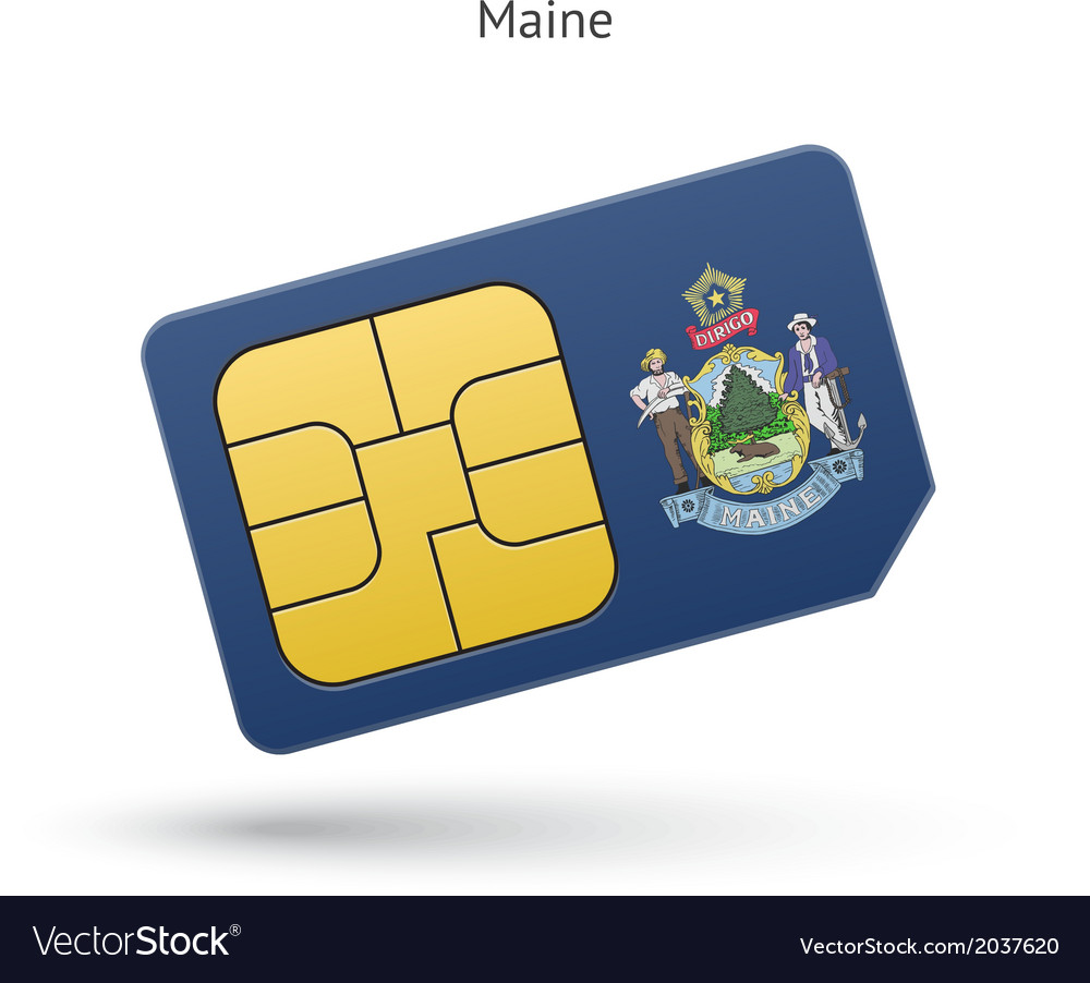 State of maine phone sim card with flag vector | Price: 1 Credit (USD $1)