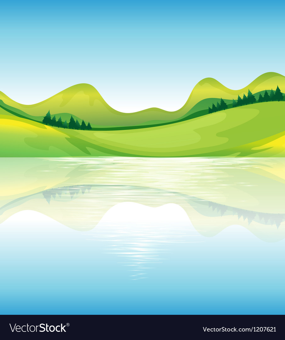 A view of the water and the green land resources vector | Price: 1 Credit (USD $1)