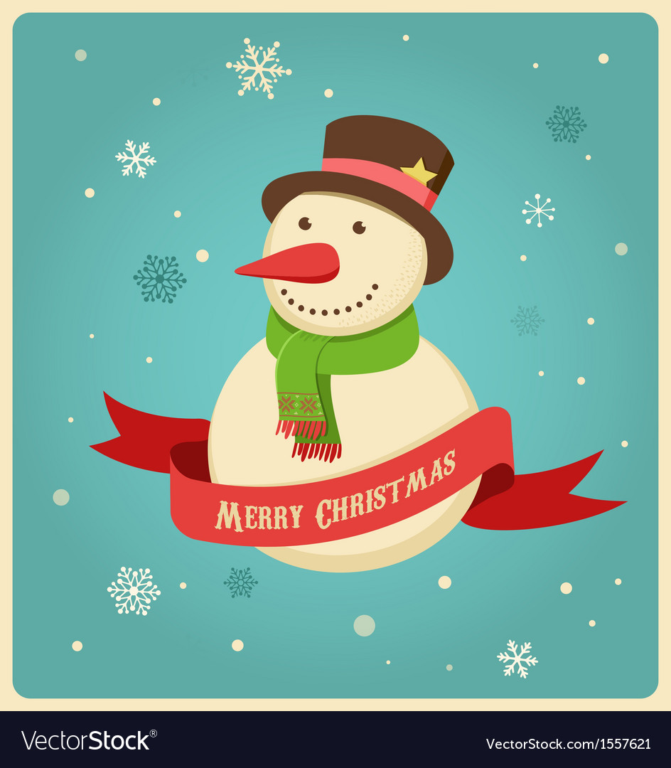 Christmas background with hipster snowman vector | Price: 1 Credit (USD $1)