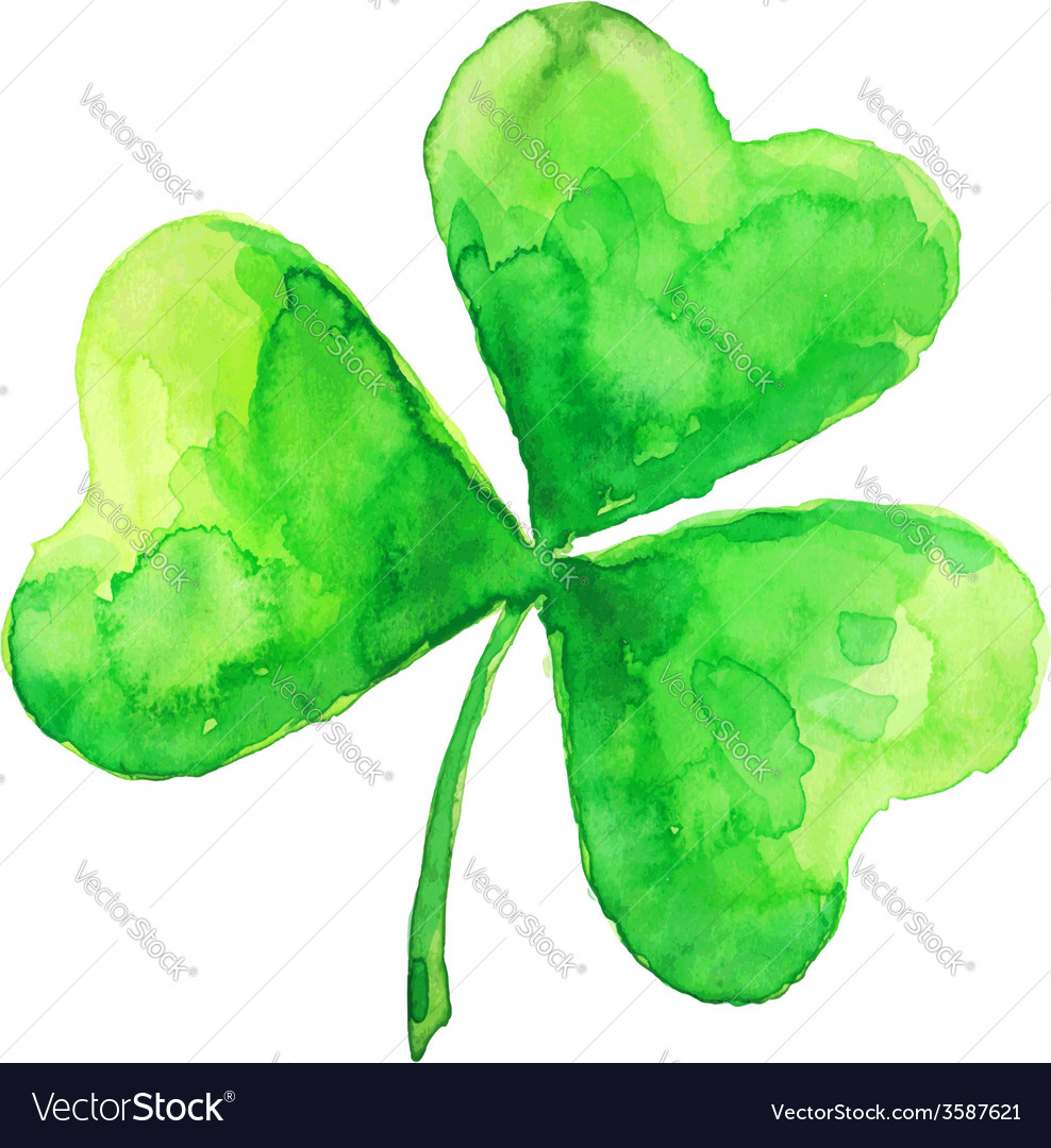 Green watercolor painted clover vector | Price: 1 Credit (USD $1)
