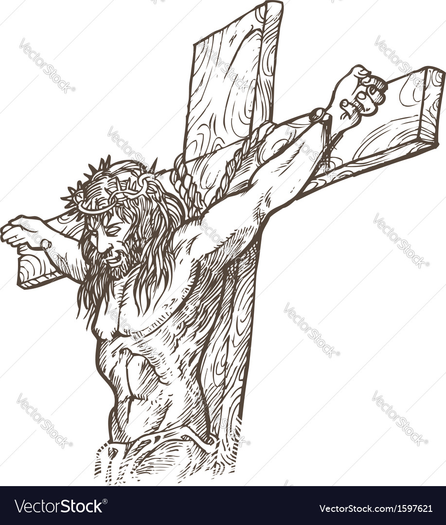 Jesus hand draw vector