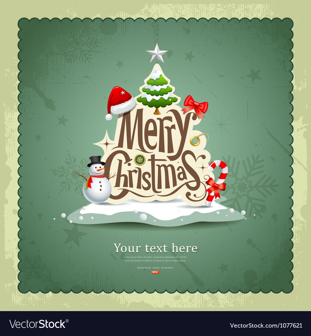 Merry christmas vintage design vector | Price: 3 Credit (USD $3)