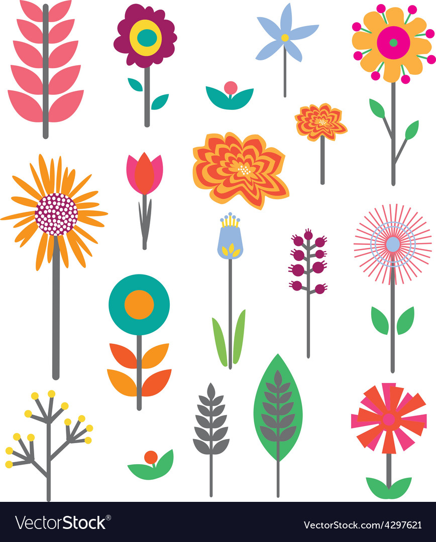 Midcenturyflowers icons karamarie preview vector | Price: 1 Credit (USD $1)