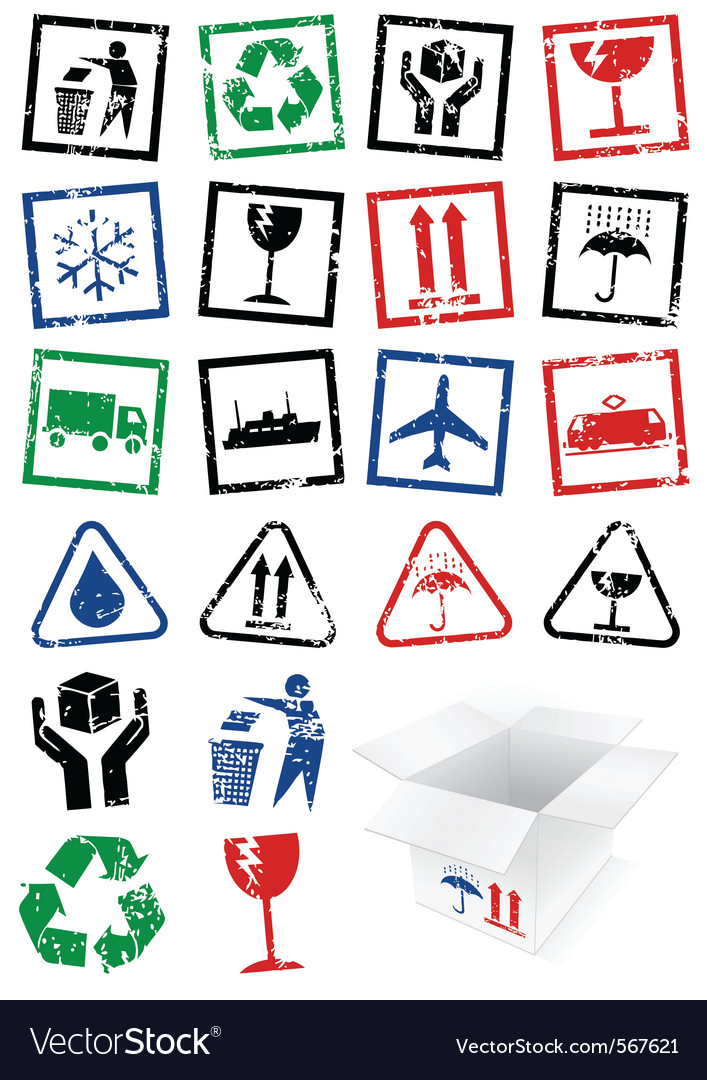 Set of packing symbol stamps vector | Price: 1 Credit (USD $1)