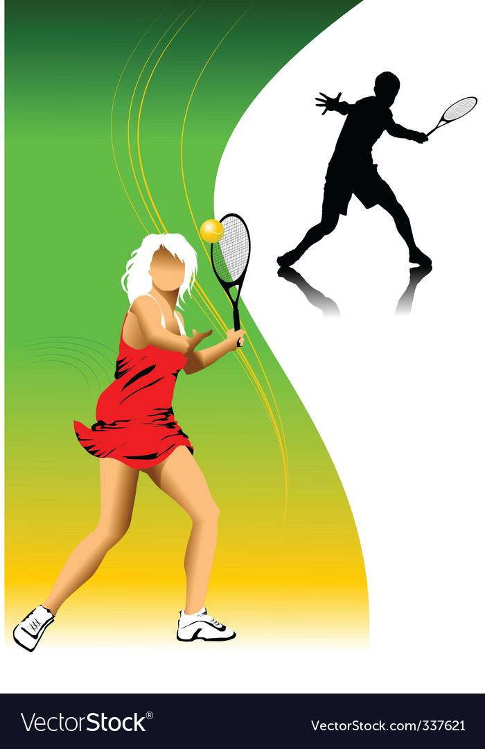 Tennis player vector | Price: 1 Credit (USD $1)