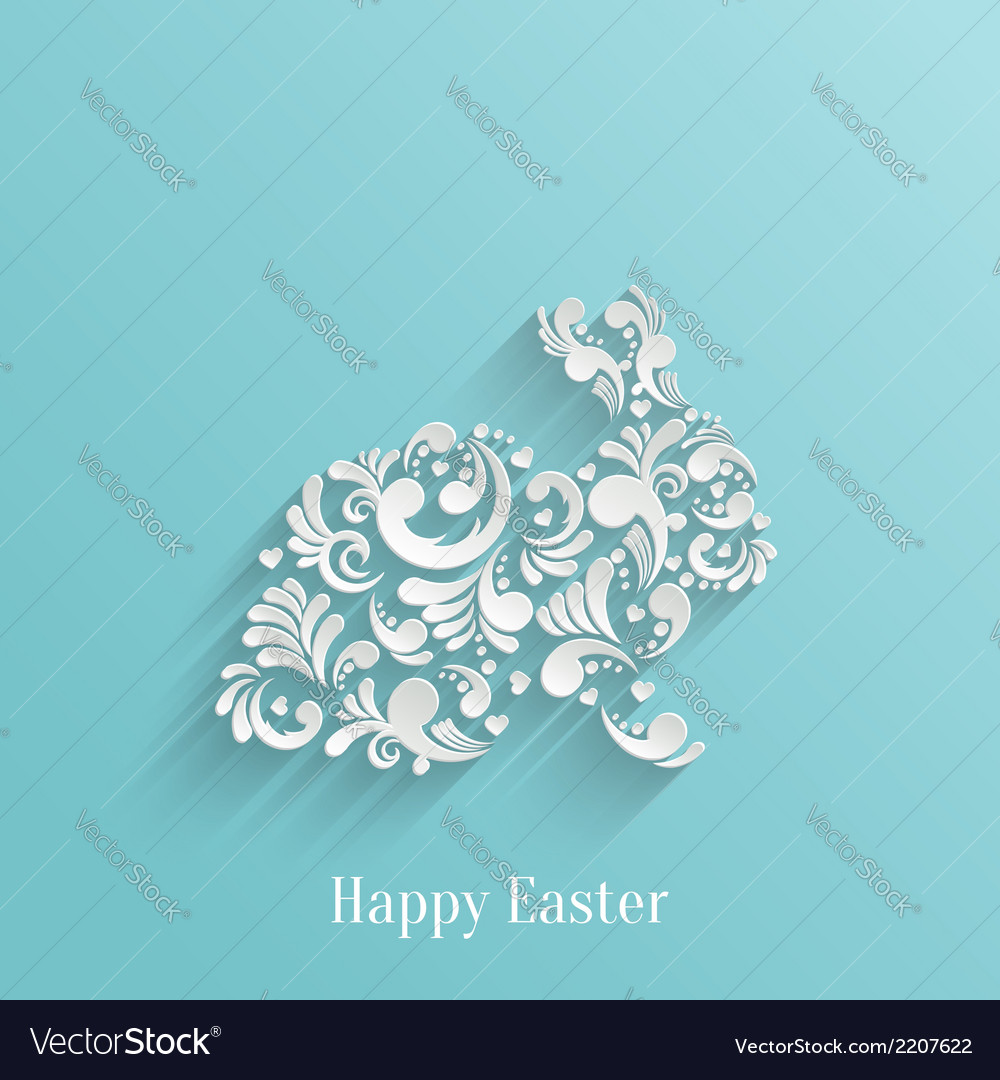 Abstract background with floral easter rabbit vector | Price: 1 Credit (USD $1)