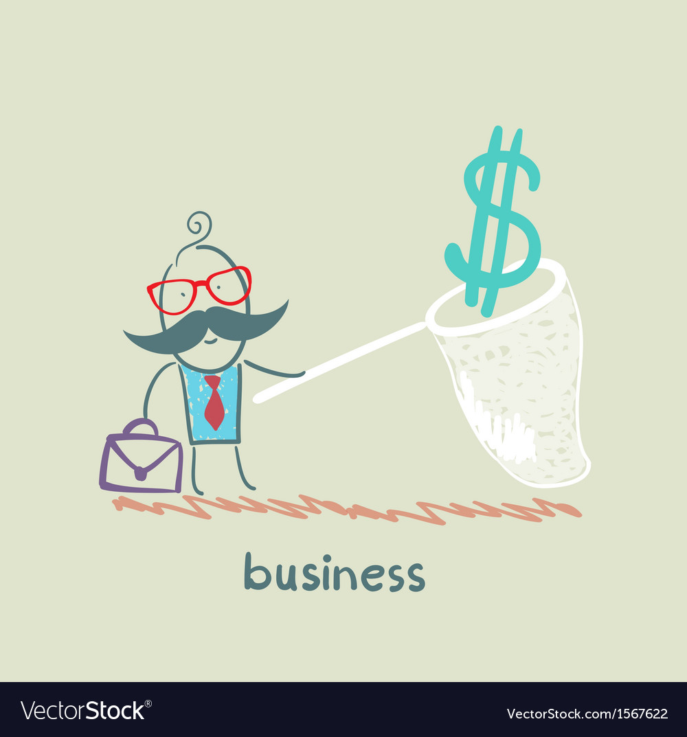 Businessman catching a butterfly net dollar vector | Price: 1 Credit (USD $1)