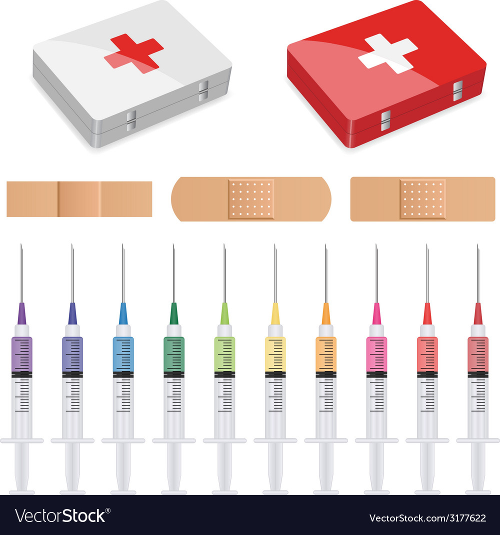 First aid plasters and syringes vector | Price: 1 Credit (USD $1)