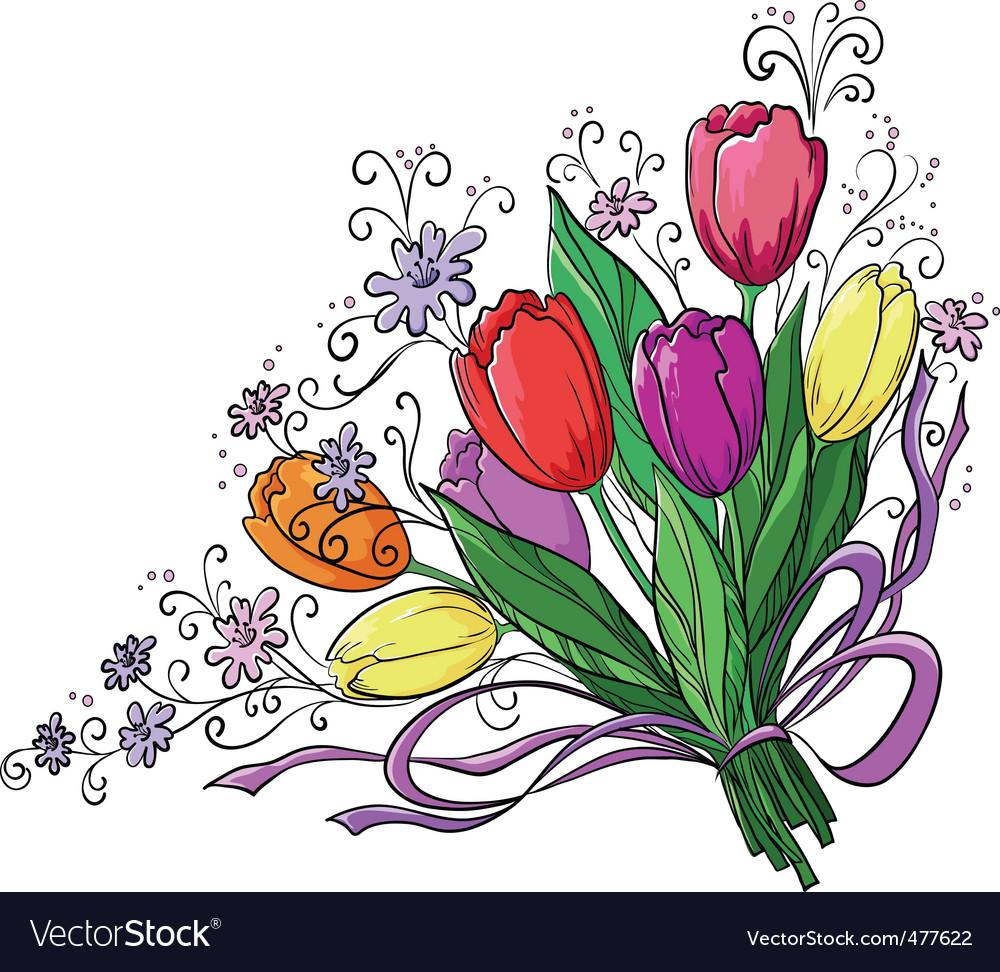 Flower tulips bouquet vector | Price: 1 Credit (USD $1)