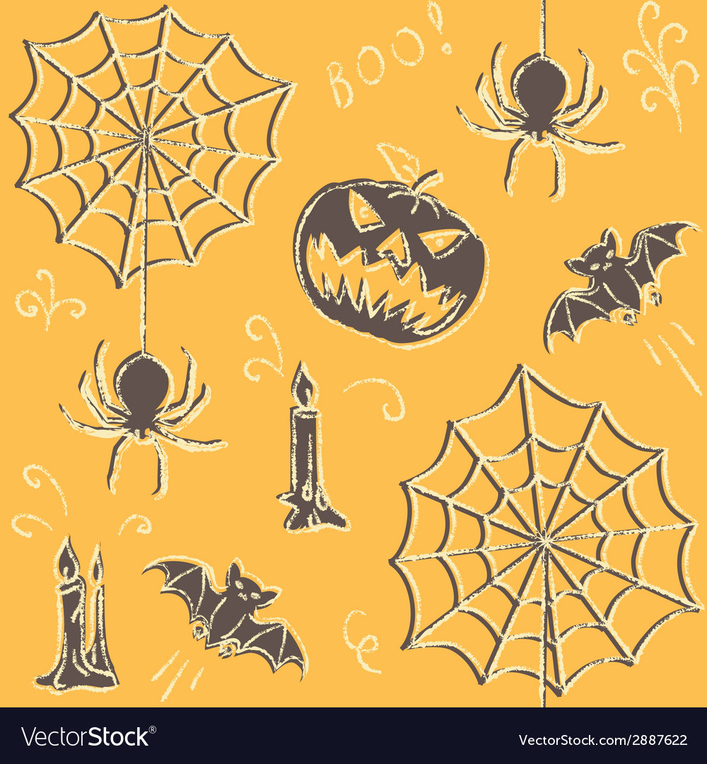 Grunge halloween seamless pattern vector | Price: 1 Credit (USD $1)