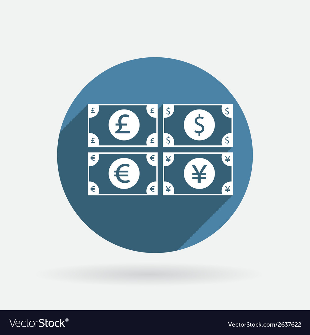 Money bill circle blue icon with shadow vector | Price: 1 Credit (USD $1)