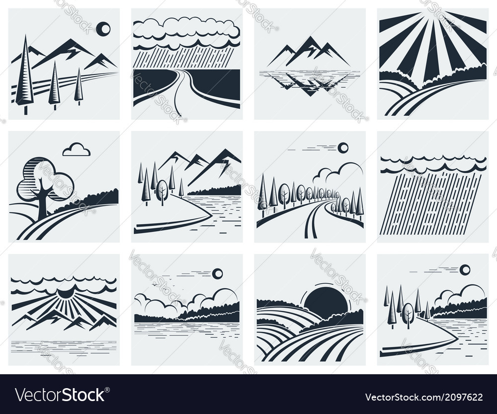 Nature landscape icons vector | Price: 1 Credit (USD $1)