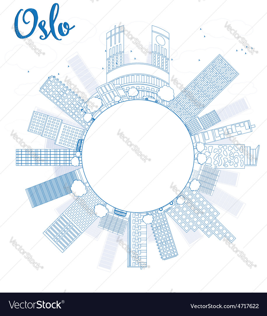 Outline oslo skyline with blue building vector | Price: 1 Credit (USD $1)