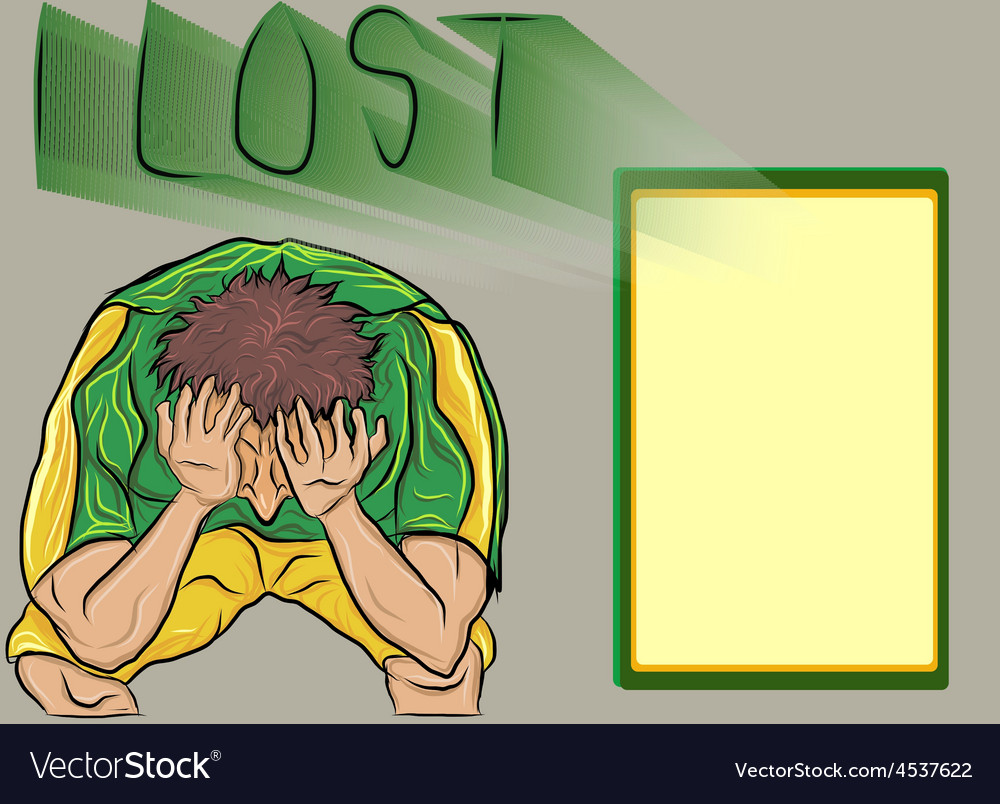 People lost footballsad football fan vector | Price: 1 Credit (USD $1)