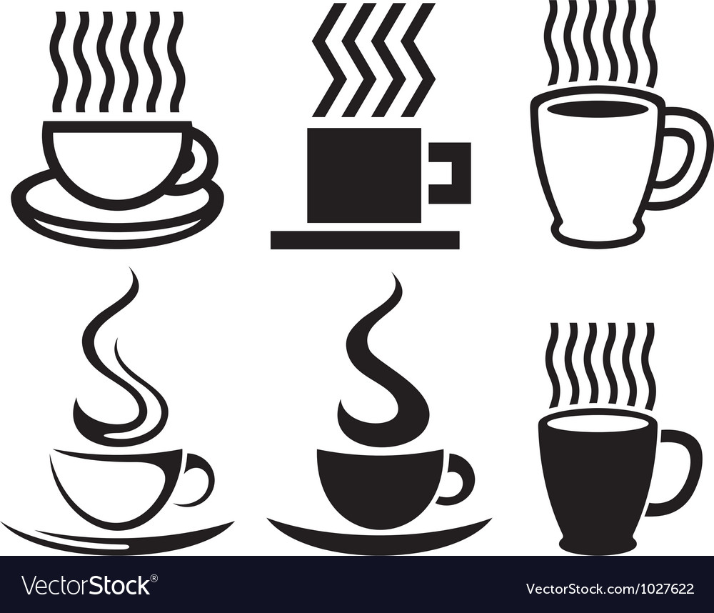 Set of coffee cup icons vector | Price: 1 Credit (USD $1)