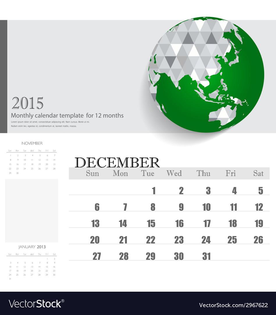 Simple 2015 calendar december vector | Price: 1 Credit (USD $1)