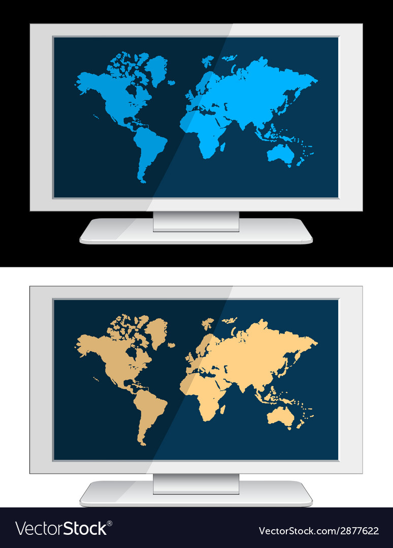 White lcd panel with world map vector | Price: 1 Credit (USD $1)