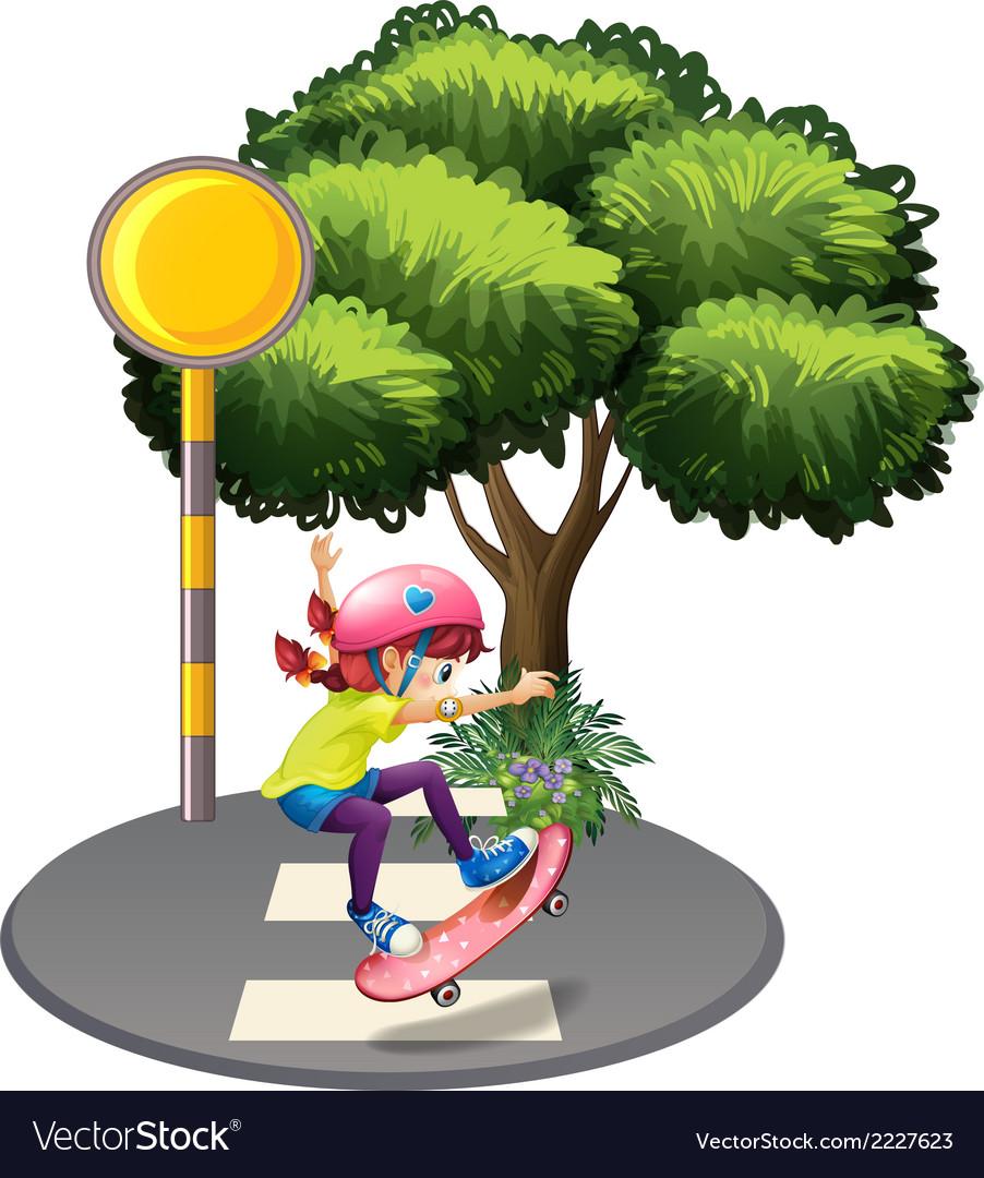 A girl skateboarding near the big tree vector   Price: 1 Credit (USD $1)