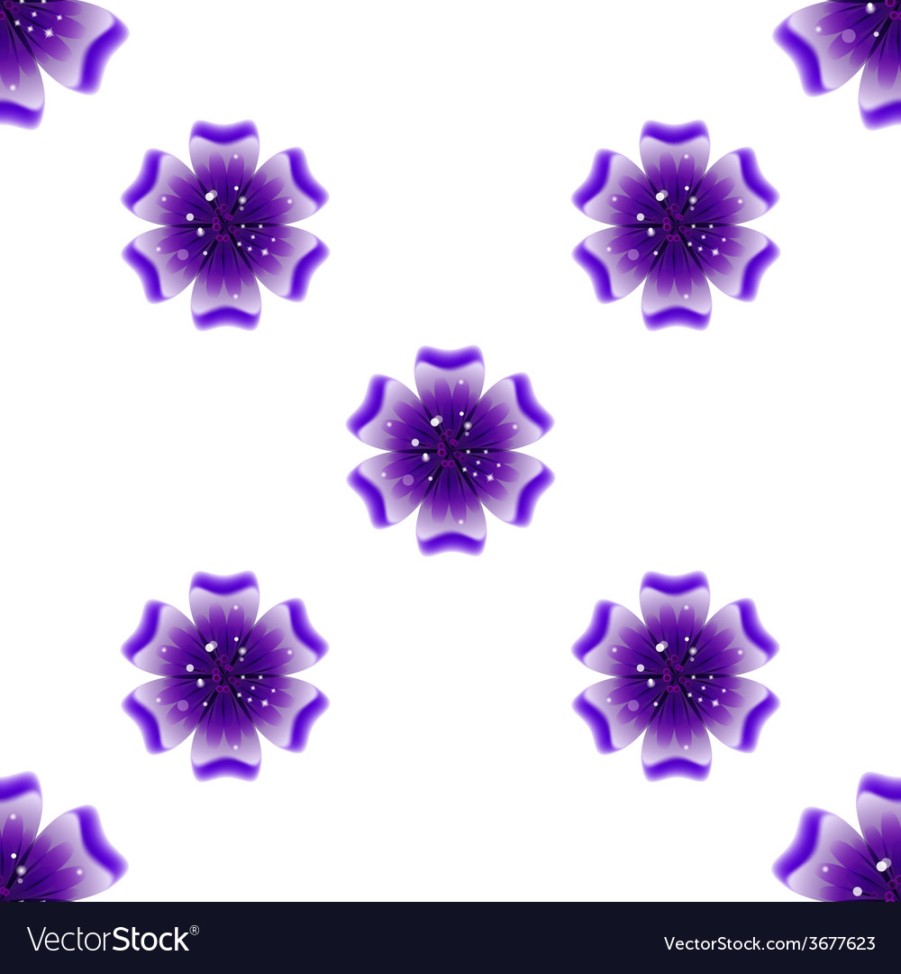 Beautiful violet flower seamless floral pattern vector | Price: 1 Credit (USD $1)