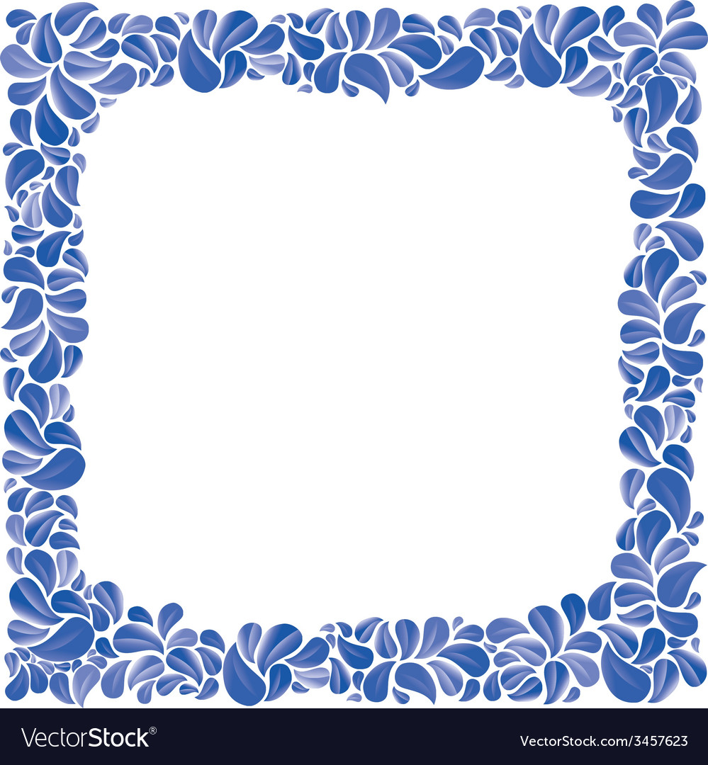 Blue natural decorative framing with leaves best vector | Price: 1 Credit (USD $1)