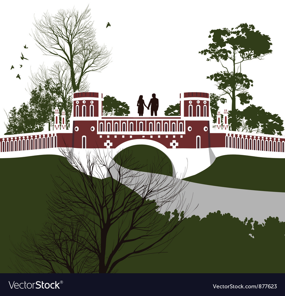 Boy and girl holding hands on the bridge vector | Price: 3 Credit (USD $3)