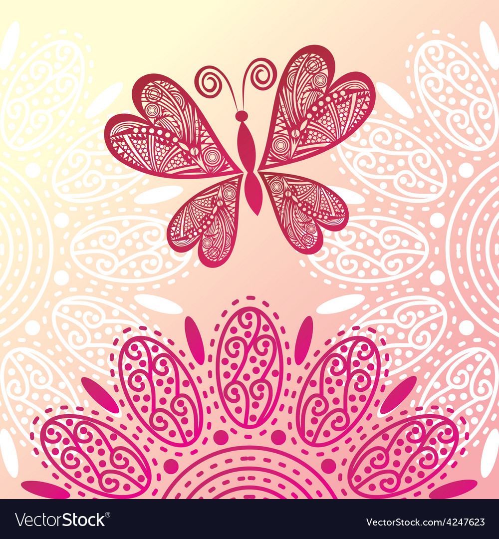 Butterfly and flowers vector | Price: 1 Credit (USD $1)