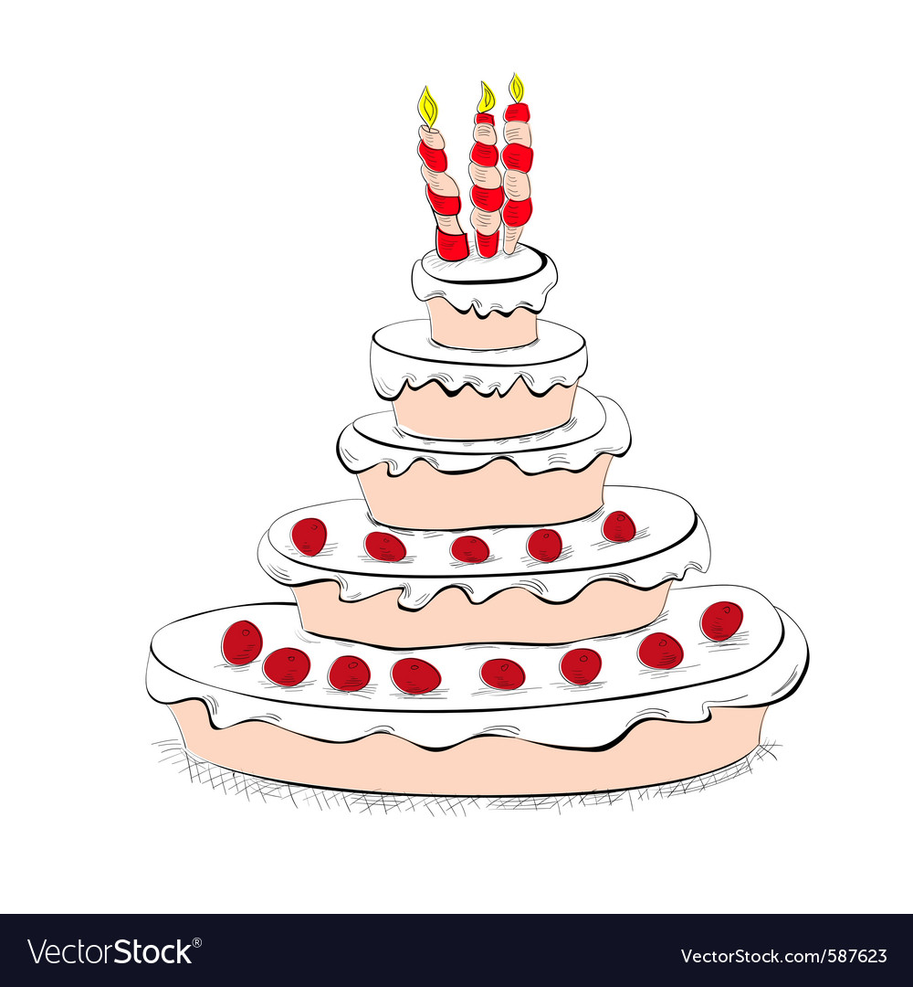 Cake with candles vector | Price: 1 Credit (USD $1)