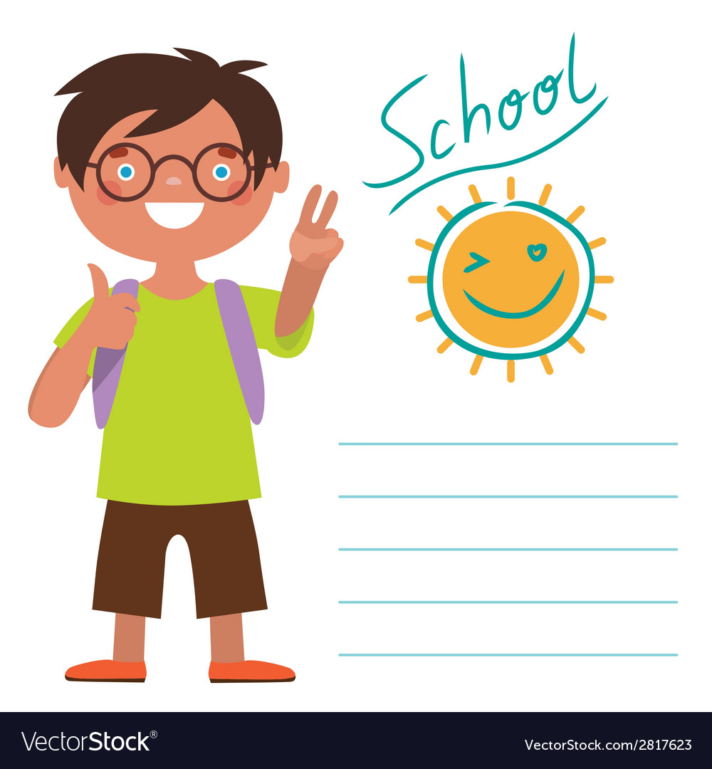 Card with schoolboy vector | Price: 1 Credit (USD $1)