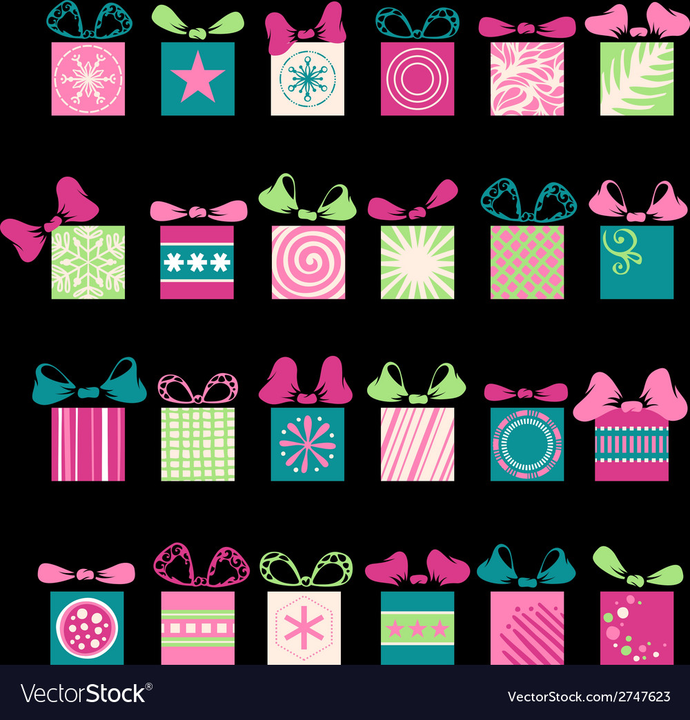 Festive gifts and bows vector | Price: 1 Credit (USD $1)