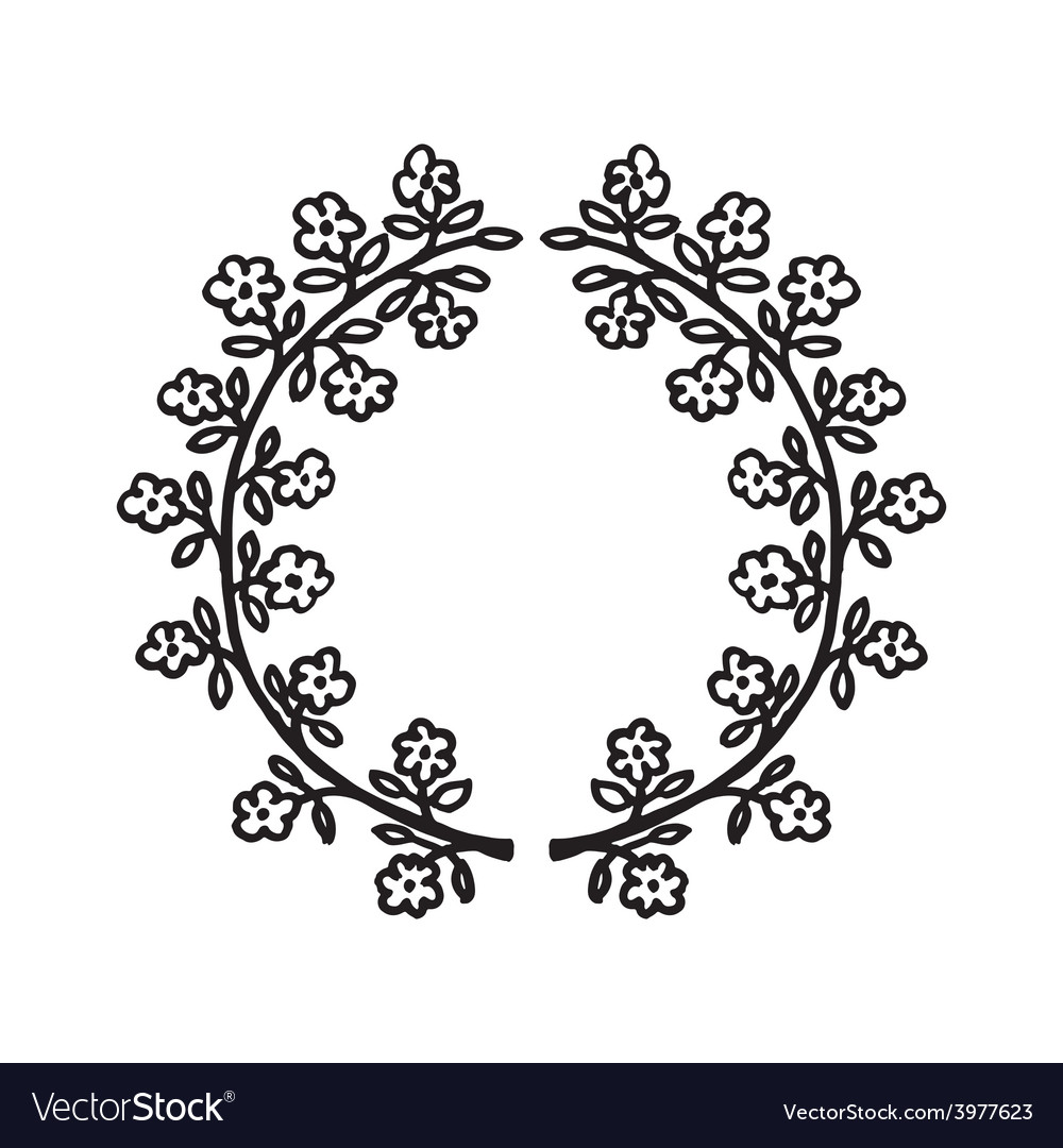 Floral hand-drawn frame vector | Price: 1 Credit (USD $1)