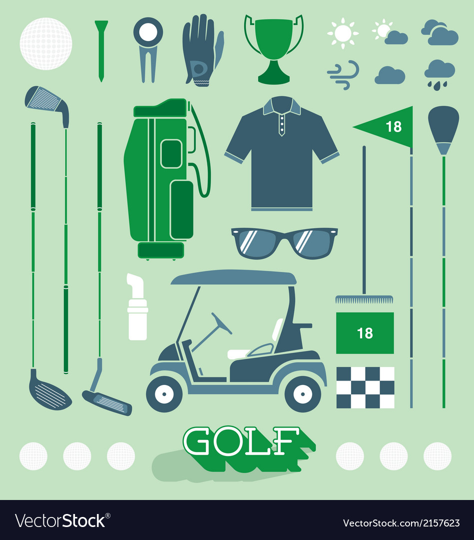 Golf equipment icons and silhouettes vector | Price: 1 Credit (USD $1)