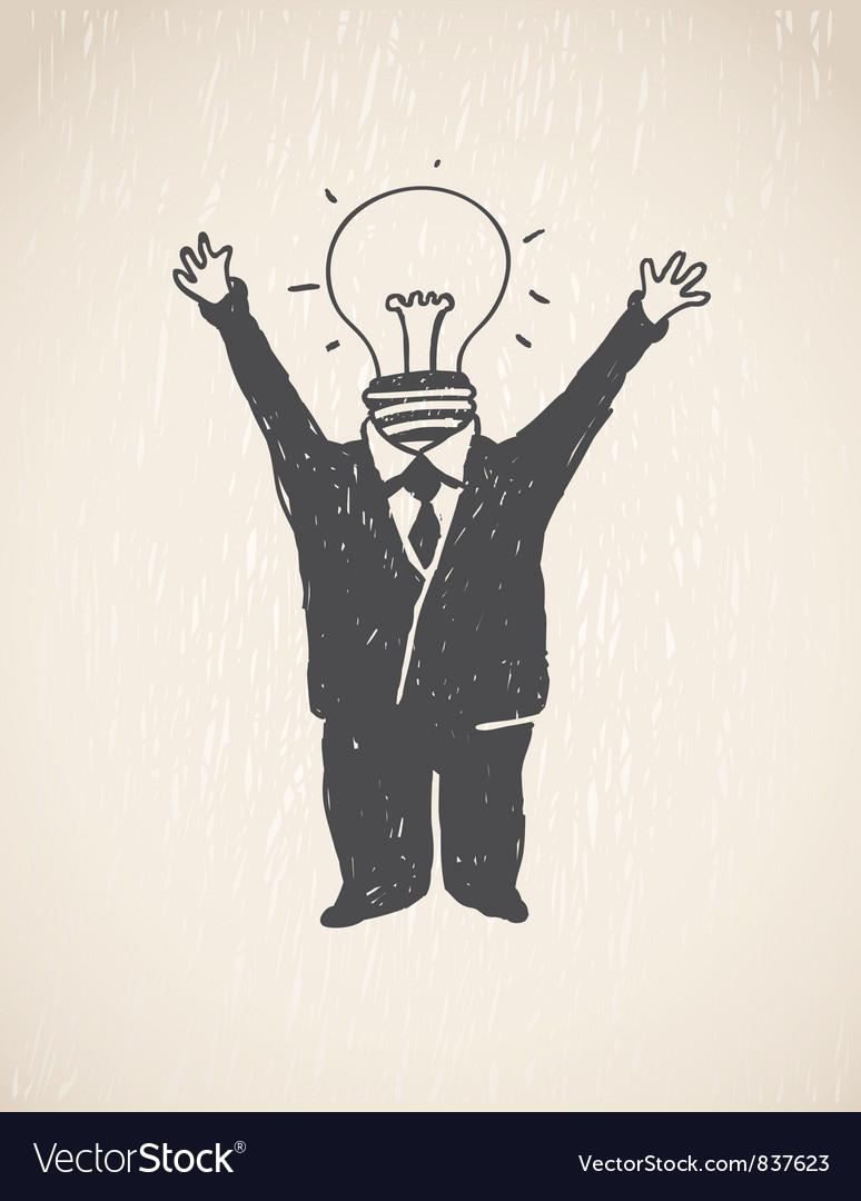 Idea lamp head businessman vector | Price: 1 Credit (USD $1)