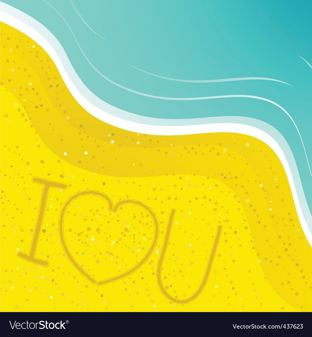 Love message in the sand vector | Price: 1 Credit (USD $1)