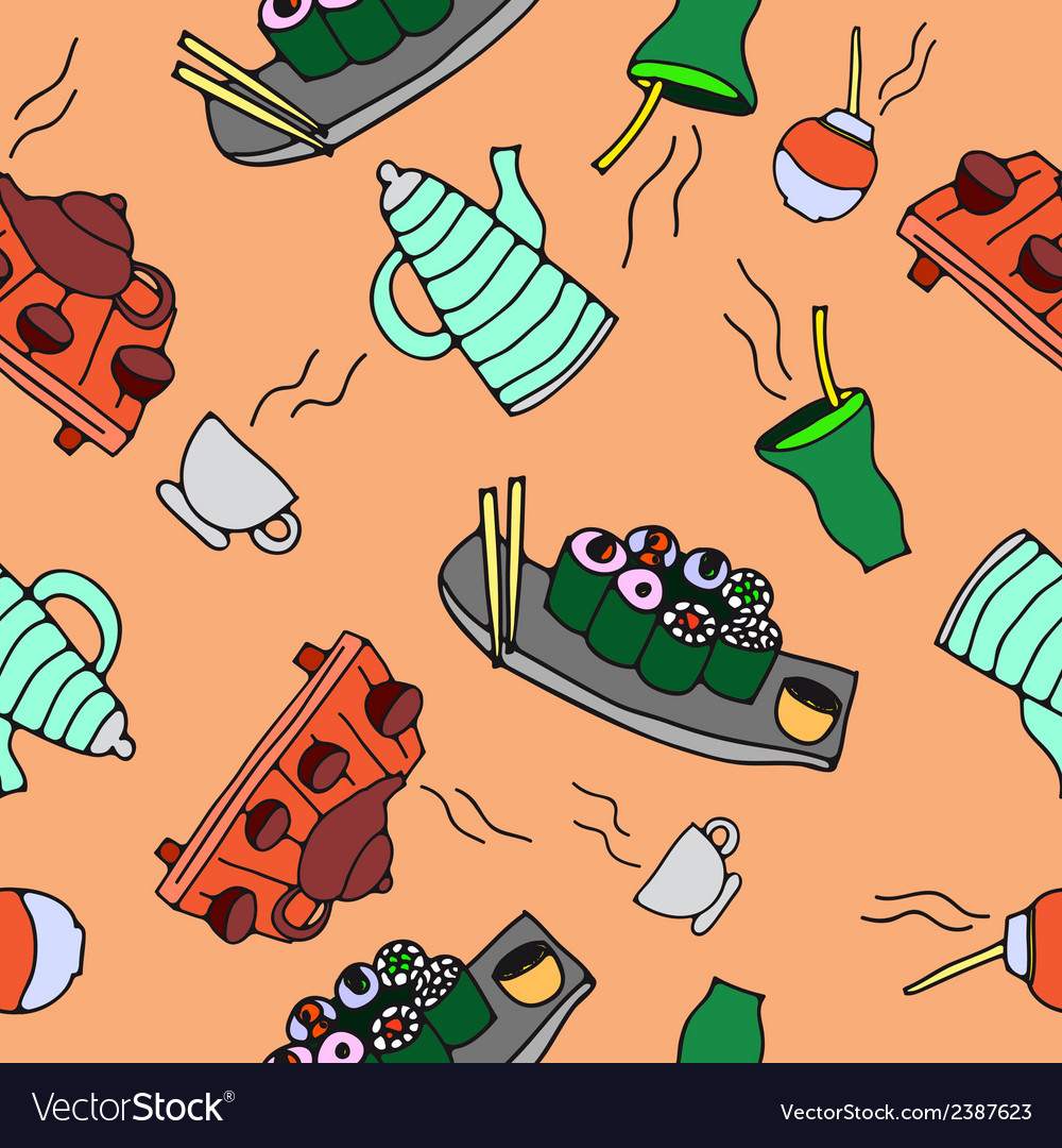 Seamless pattern of food and drinks vector | Price: 1 Credit (USD $1)