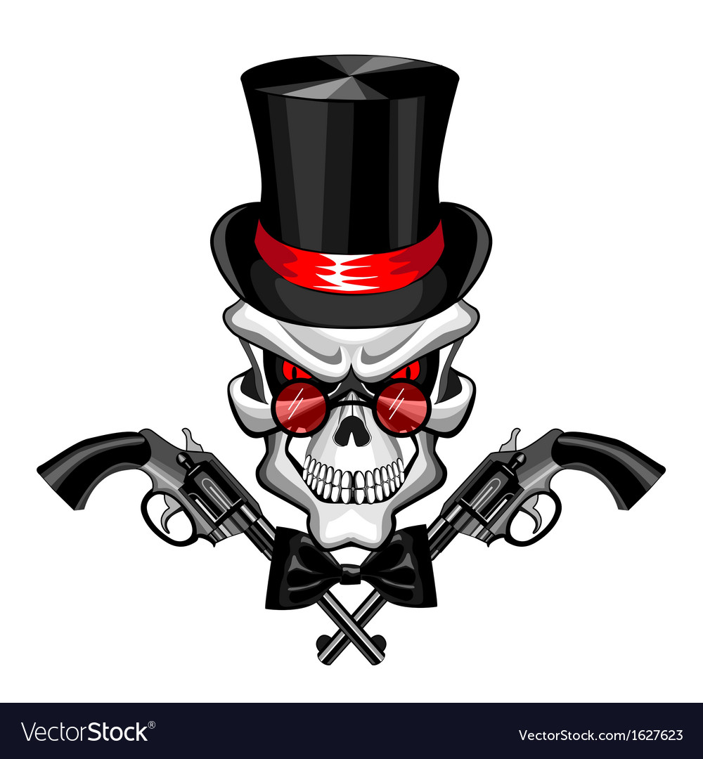 Skull wearing a hat with a pistol vector | Price: 1 Credit (USD $1)