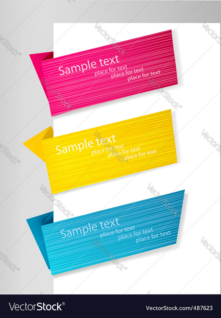 Three origami banners vector