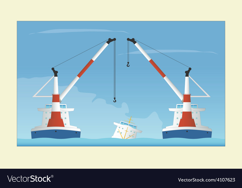 Two floating cranes and sunken vessel salvage vector | Price: 1 Credit (USD $1)
