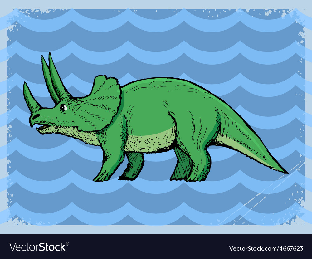 Vintage grunge background with dinosaur vector