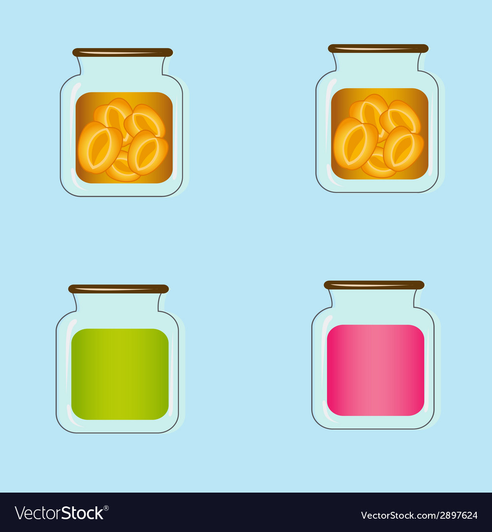Bank with home canned peaches design vector | Price: 1 Credit (USD $1)