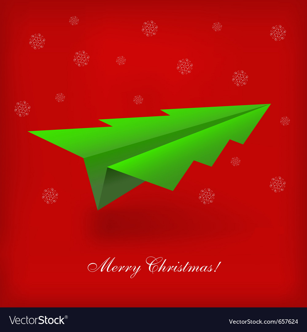 Christmas tree origami airplane vector | Price: 1 Credit (USD $1)
