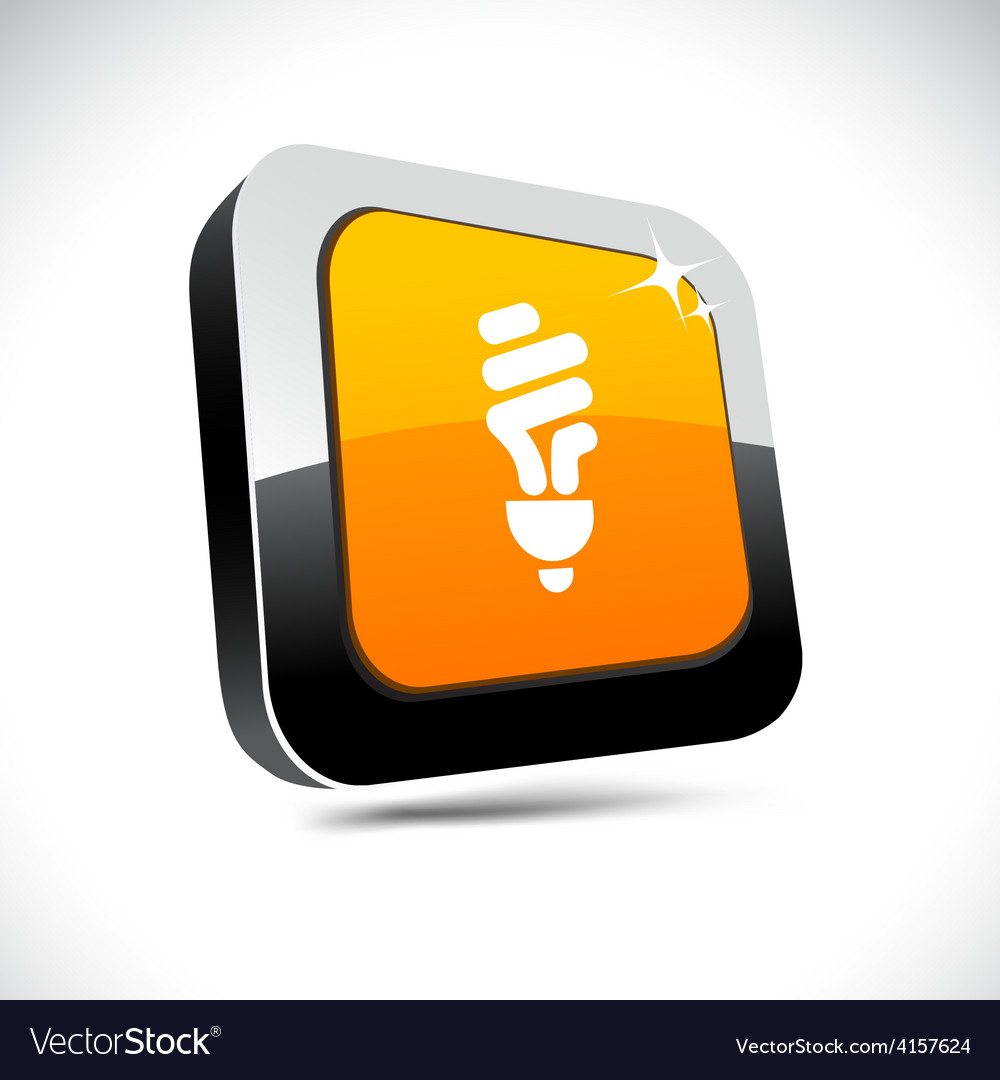 Fluorescent bulb 3d square button vector | Price: 1 Credit (USD $1)