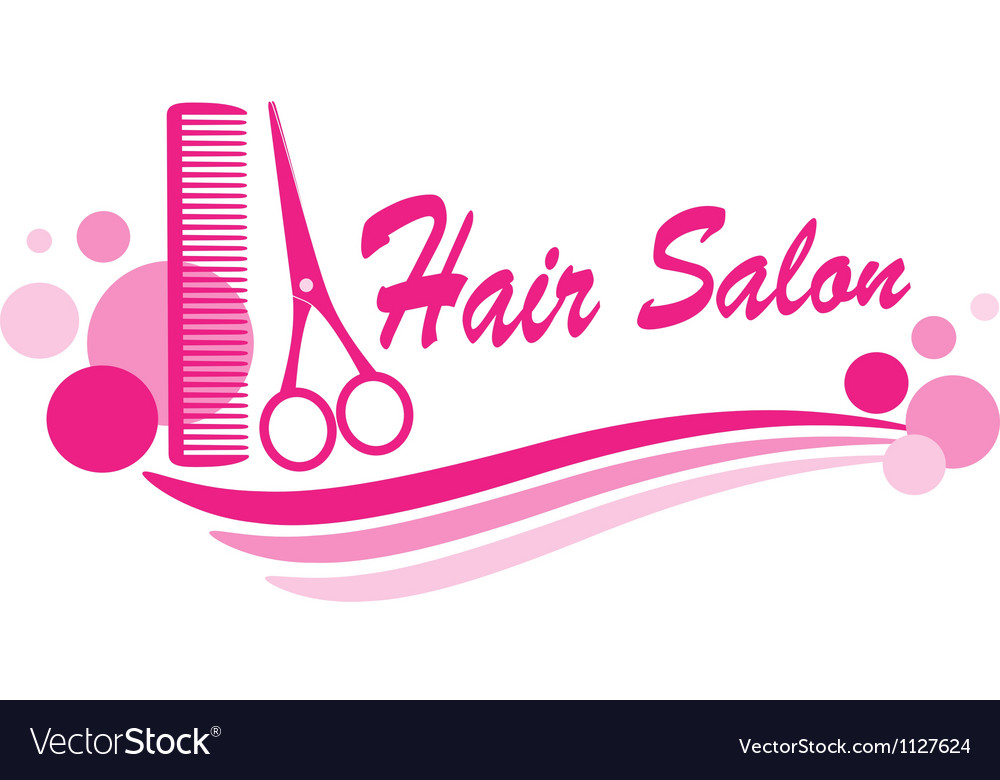 Hair salon sign with scissors and design elements vector   Price: 1 Credit (USD $1)