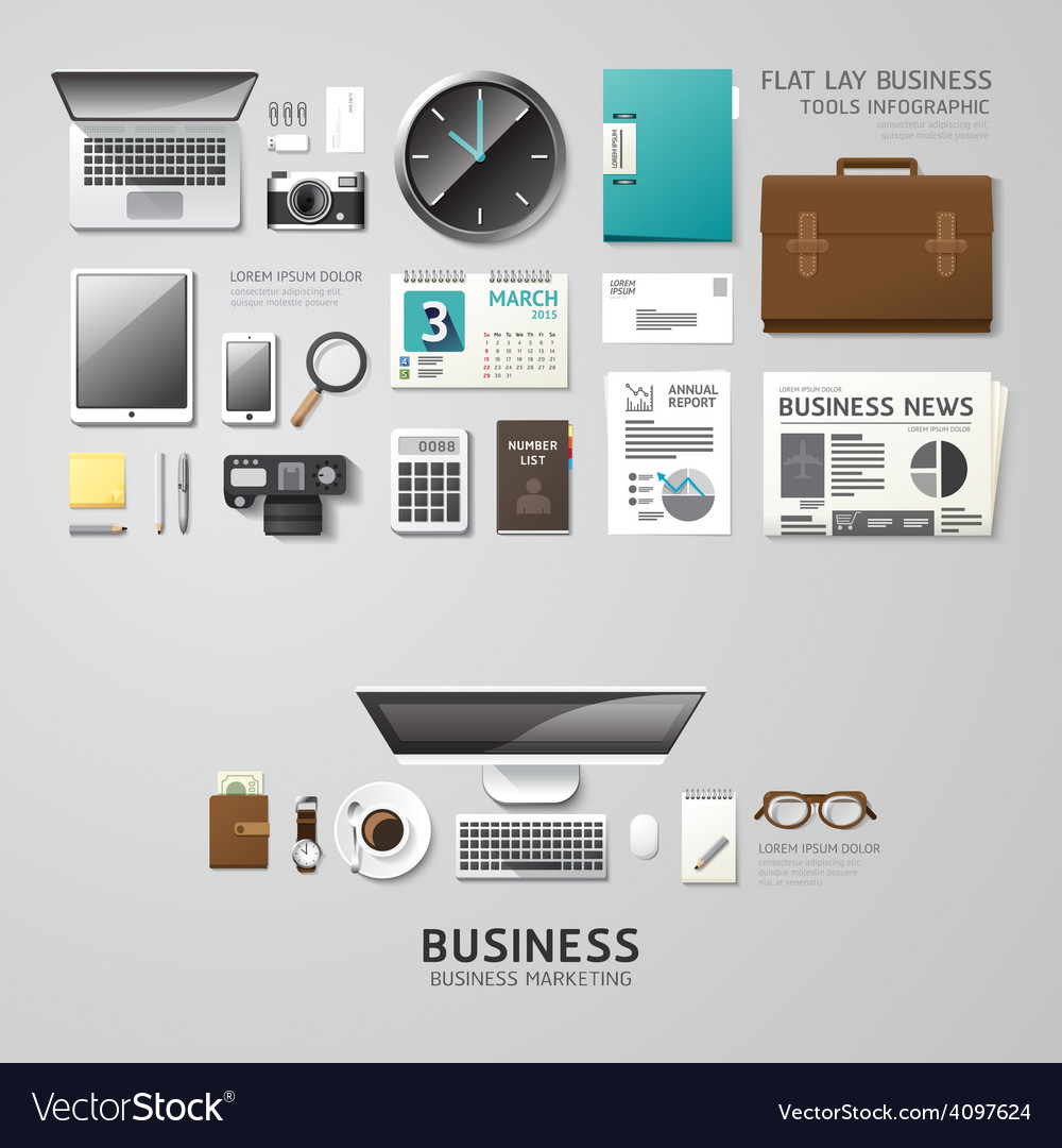 Infographic office tools flat lay idea hipster vector | Price: 3 Credit (USD $3)