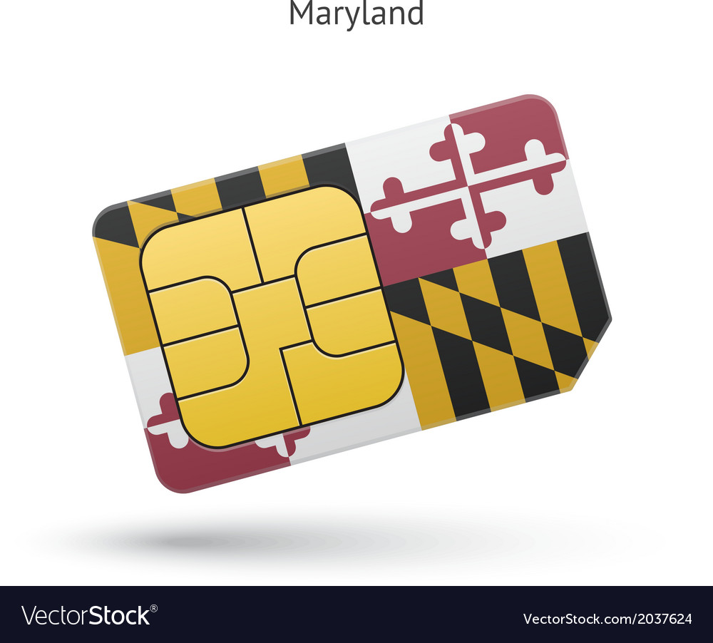 State of maryland phone sim card with flag vector | Price: 1 Credit (USD $1)