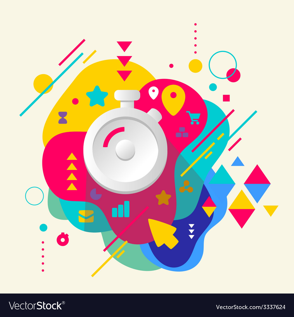Stopwatch on abstract colorful spotted background vector | Price: 3 Credit (USD $3)