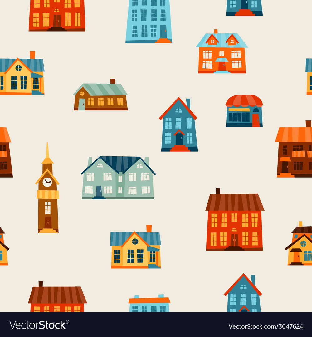 Town seamless pattern with cute colorful houses vector | Price: 1 Credit (USD $1)