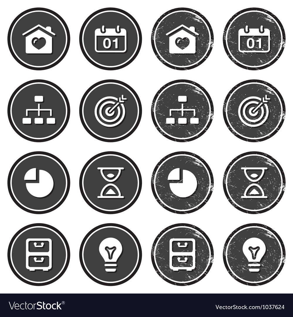 Website navigation icons on retro labels set vector | Price: 1 Credit (USD $1)