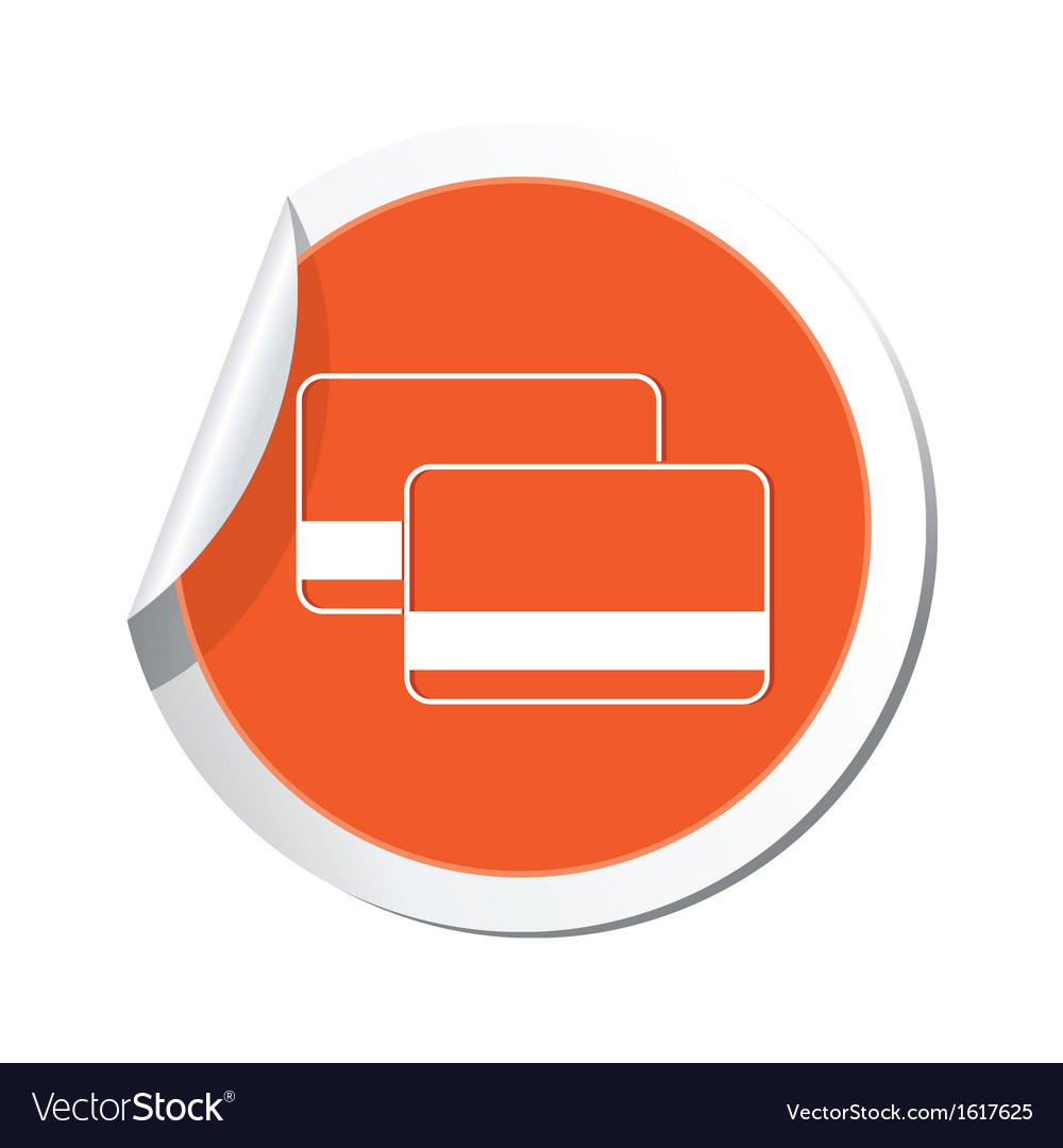 Credit cards icon orange label vector | Price: 1 Credit (USD $1)