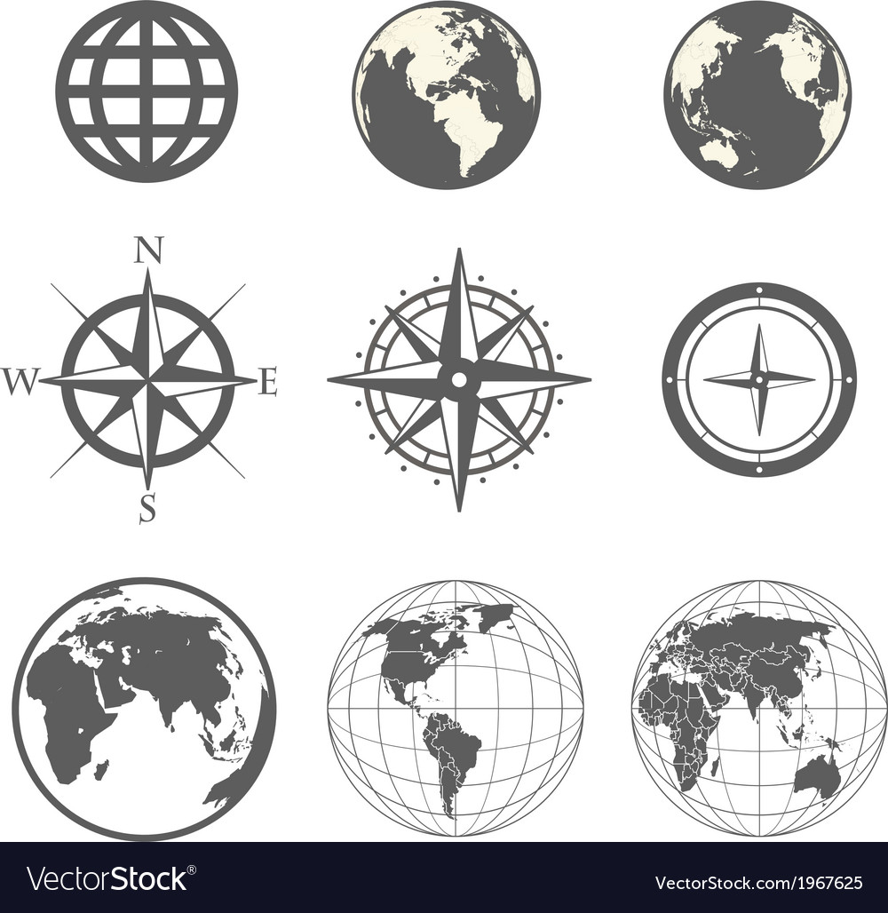 Globe and wind rose scheme collection vector | Price: 1 Credit (USD $1)