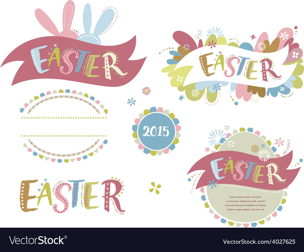 Happy easter - set of elements vector | Price: 1 Credit (USD $1)